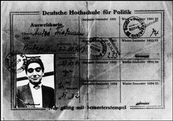 The Student Card  Library Card of Andre Friedmann (later to be called Robert CAPA) for his Highschool for Political Sciences in Berlin for the winter/summer semesters of 1931/1932.